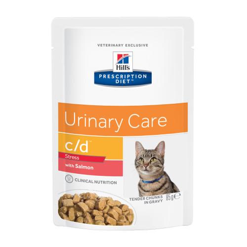 Hills Prescription Diet Feline CD Stress Urinary Care Pouches 85g x 12 Salmon