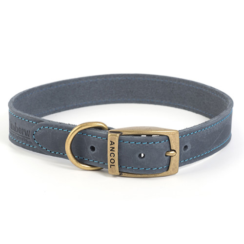 Ancol Timberwolf Blue Leather Dog Collar Size 4