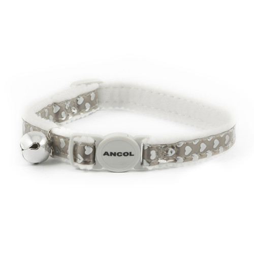 Ancol Reflective Silver Hearts Safety Cat Collar