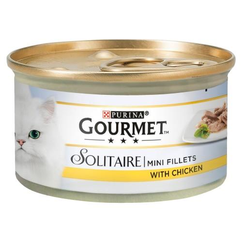 Gourmet Solitaire Mini Chicken Fillets Wet Cat Food 85g x 12