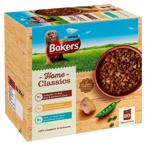 Bakers Home Classics with Beef, Chicken & Duck Adult Dog Pouches
