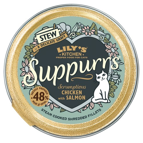 Lilys Kitchen Suppurrs Scrumptious Chicken with Salmon Stew Wet Cat Food