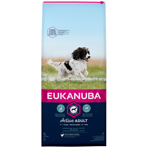 Eukanuba Active Adult Chicken Medium Breed Adult Dog Food 12kg x 2