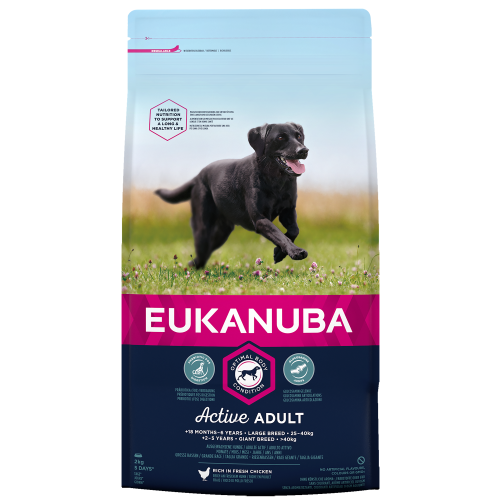 Eukanuba Active Adult Chicken Large Breed Adult Dog Food 12kg x 2