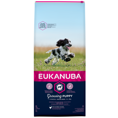Eukanuba Growing Puppy Chicken Medium Breed Puppy Food 12kg x 2