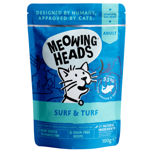Meowing Heads Surf & Turf Wet Cat Food 100g x 50