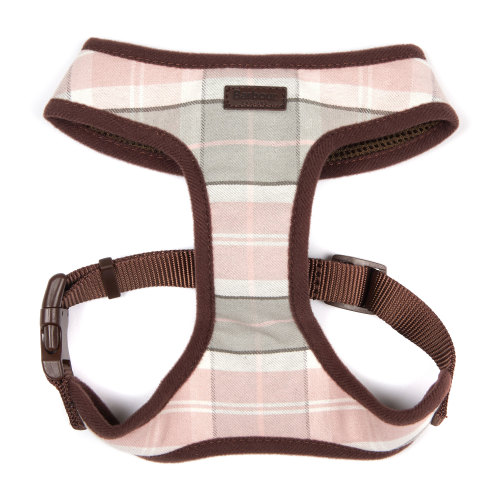 Barbour Dog Harness in Pink & Grey Tartan Medium