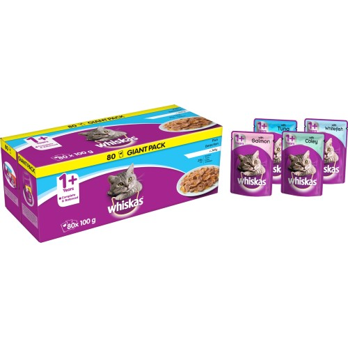 Whiskas 1+ Fishermans Choice Adult Cat Food Pouches