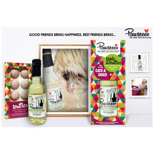 Rosewood Pawsecco White Wine Luxury Christmas Gift Set For Dogs & Cats