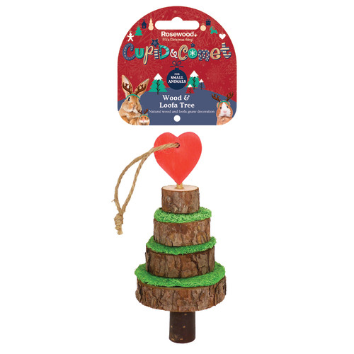 Rosewood Wood & Loofa Christmas Tree for Small Pets