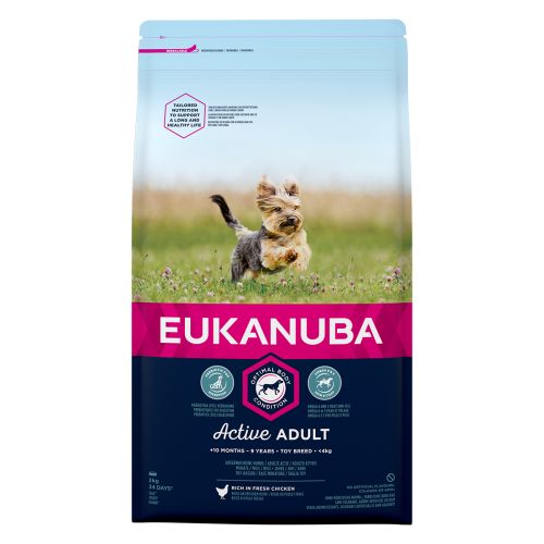 Eukanuba Active Adult Chicken Toy Breed Dog Food 2kg