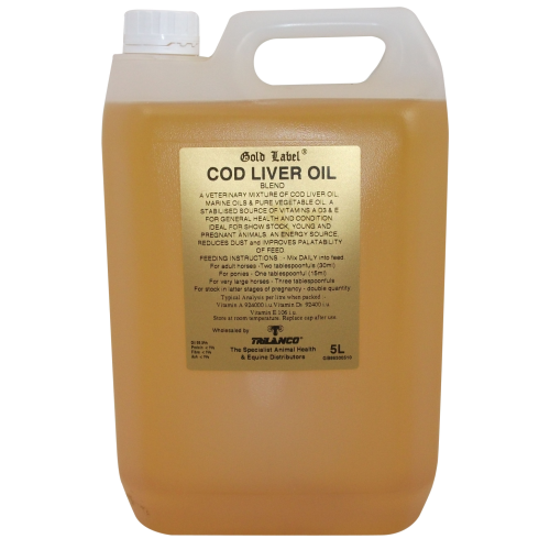 Gold Label Cod Liver Oil Horse Supplement 5 Litres