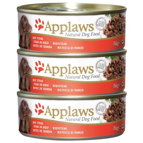Applaws Beef Steak Bulk Pack Tins Wet Dog Food 156g x 18