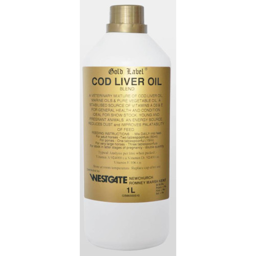 Gold Label Cod Liver Oil Horse Supplement 1 Litre