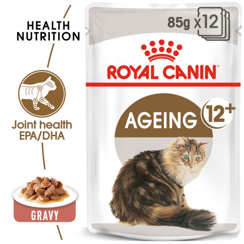 Royal Canin Ageing 12+ Adult Senior In Gravy Wet Cat Food Pouches 85g x 48