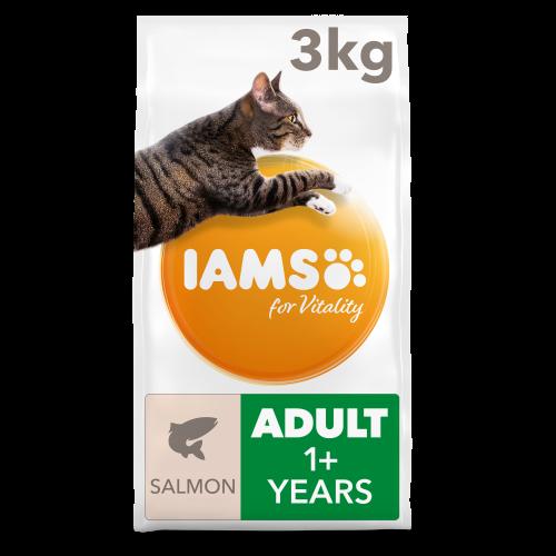 IAMS for Vitality Salmon Adult Dry Cat Food 3kg x 3