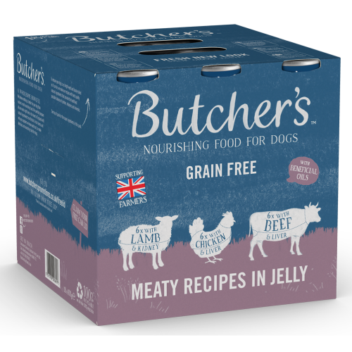 Butchers Meaty Recipes in Jelly Dog Food Tins 400g x 54