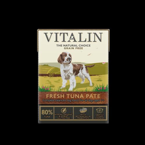 Vitalin Natural Grain Free Tuna Pate Wet Adult Dog Food Cartons 375g x 12