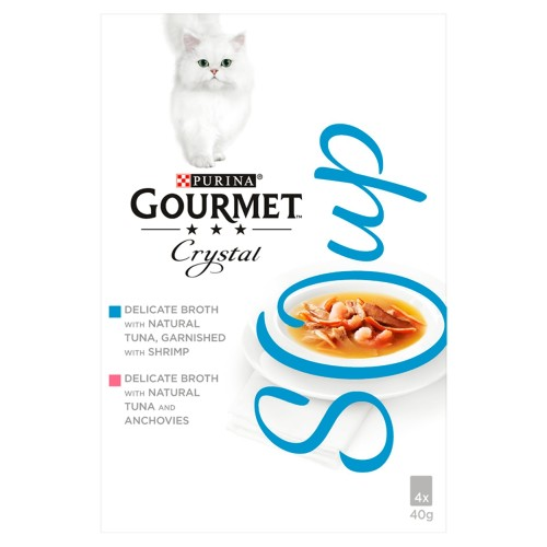 Gourmet Crystal Soup Fish Variety Multipack Adult Cat Food 40g x 4