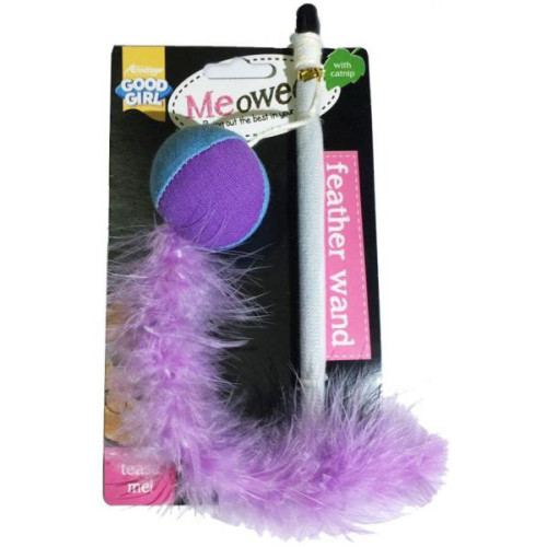 Good Girl Meowee Feather Teaser Wand Cat Toy