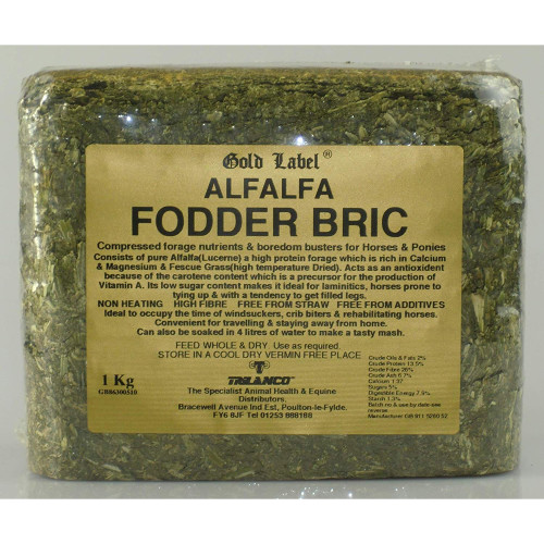 Gold Label Alfalfa Fodder Bric Horse Supplement 1kg