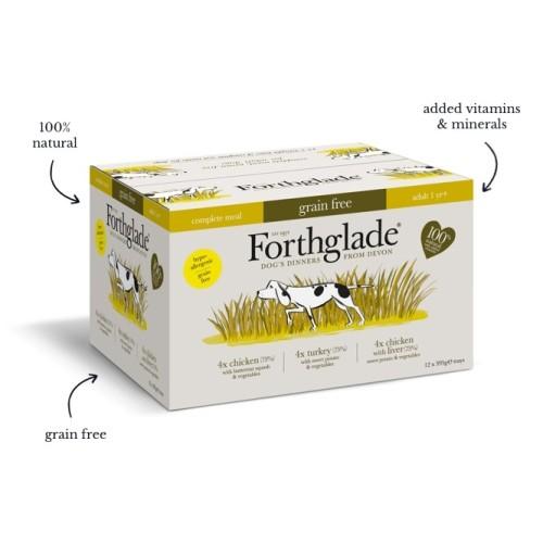 Forthglade Grain Free Complete Meal Poultry Multipack Adult Wet Dog Food 395g x 36