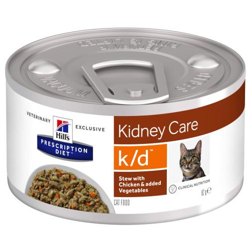 Hills Prescription Diet KD Chicken & Veg Stew Wet Cat Food 82g x 24