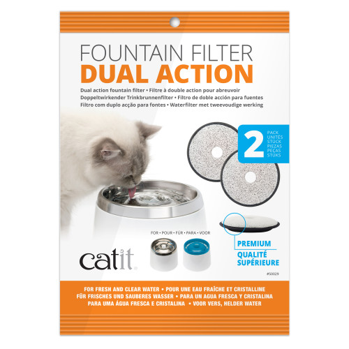 Catit Fresh & Clear Stainless Steel Water Fountain For Cats Replacement Filters (2 Pack)