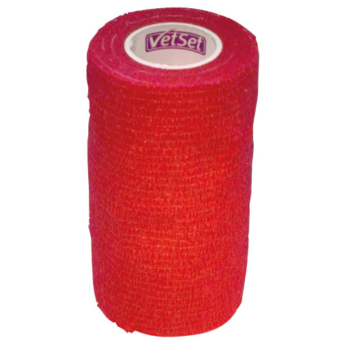 Vet Set WrapTec Cohesive Bandage for Horses 100mm Red