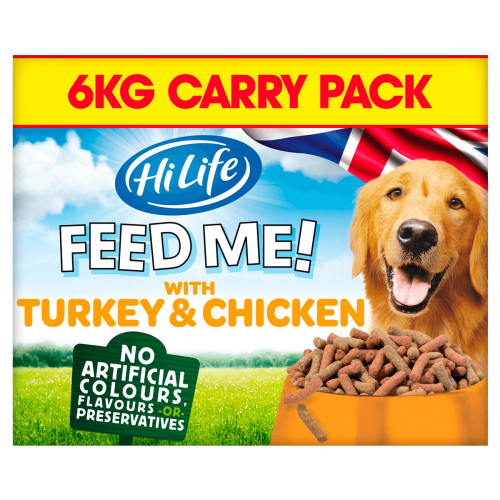 HiLife FEED ME! Turkey & Chicken flavoured with Bacon Adult Dog Food 6kg