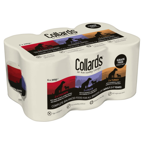 Collards Grain-Free Variety Wet Dog Food Tins 390g x 48