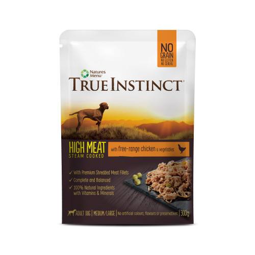 True Instinct High Meat Fillets Free Range Chicken Adult Wet Dog Food Pouches 300g x 8