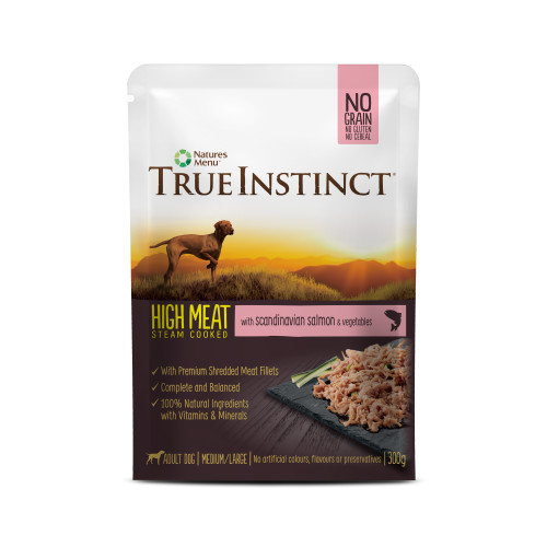 True Instinct High Meat Fillets Chicken with Salmon Adult Wet Dog Food Pouches 300g x 24