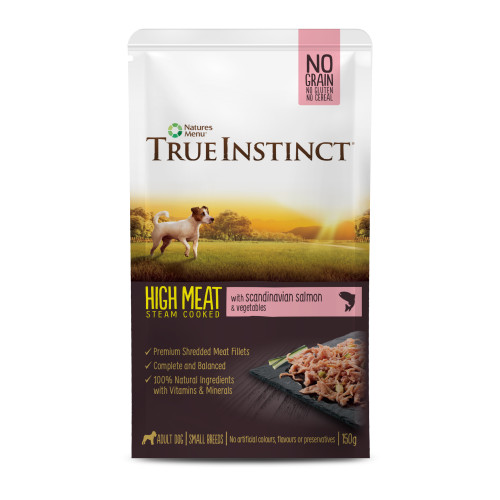 True Instinct High Meat Fillets Chicken with Salmon Small Breed Adult Wet Dog Food Pouches 150g x 32