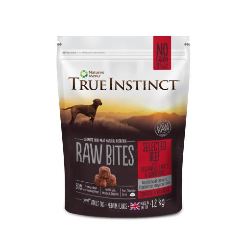True Instinct Raw Bites Selected Beef Raw Frozen Adult Dog Food 1.2kg