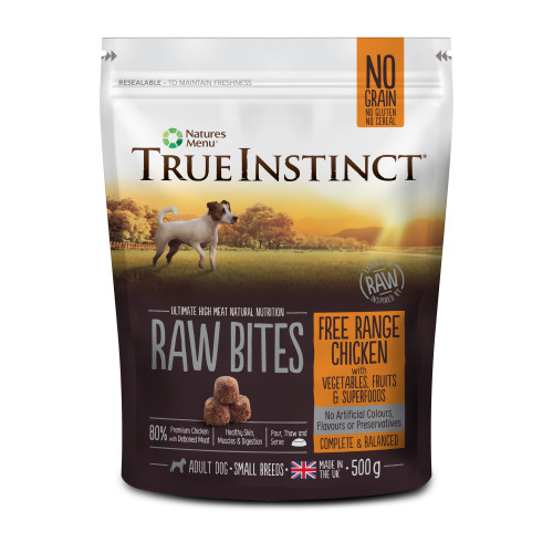 True Instinct Raw Bites Free Range Chicken Small Breeds Frozen Raw Dog Food 500g