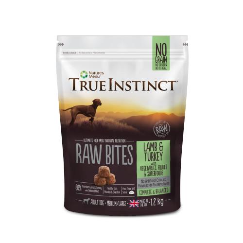 True Instinct Raw Bites Lamb & Turkey Adult Raw Frozen Dog Food 1.2kg