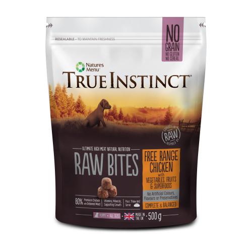 True Instinct Raw Bites Free Range Chicken Frozen Raw Puppy Food 500g