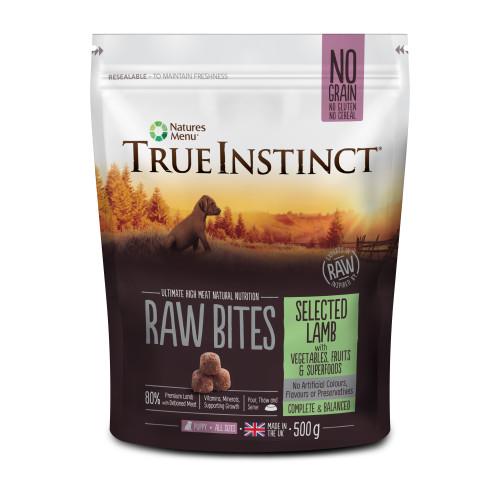 True Instinct Raw Bites Selected Lamb Raw Frozen Puppy Food 500g