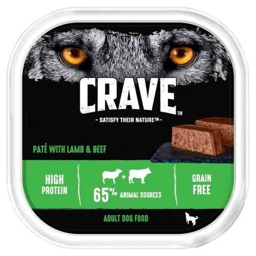 CRAVE Lamb & Beef Wet Adult Dog Food Trays 300g x 10