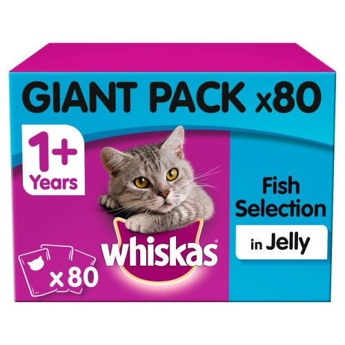 Whiskas 1+ Fish Selection Adult Cat Food Pouches 100g x 80 SAVER PACK