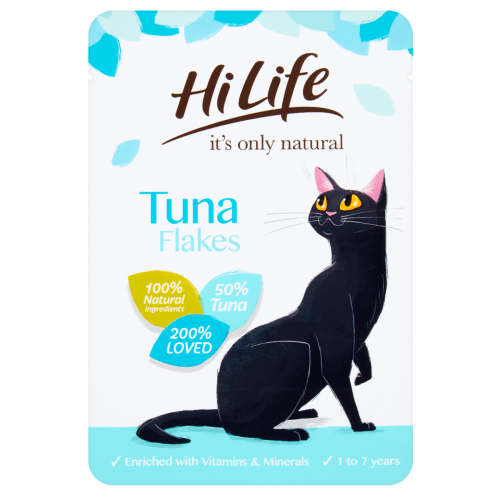 HiLife Its Only Natural Tuna Flakes in Jelly Adult Cat Food 70g x 18