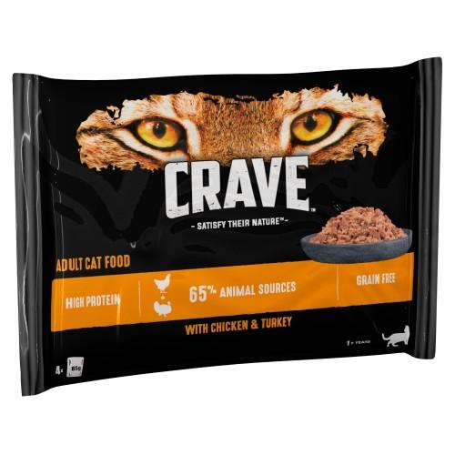 CRAVE Chicken & Turkey Adult Wet Cat Food Pouches 85g x 4