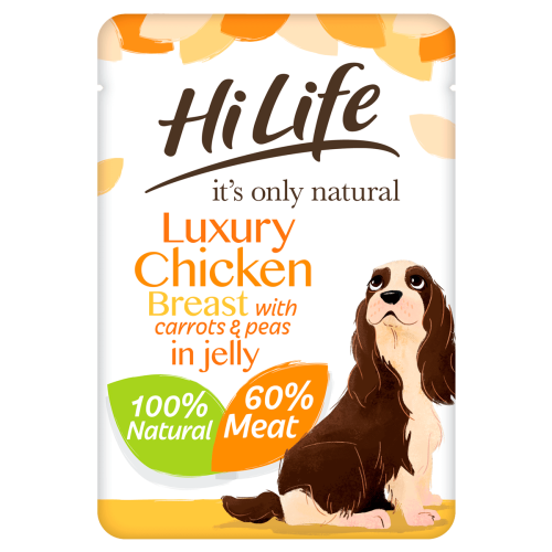 HiLife Its Only Natural Chicken Breast with Carrots & Peas in Jelly Adult Dog Food 100g x 45