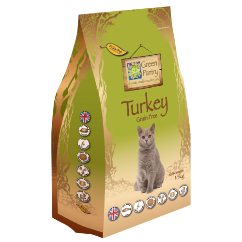 Green Pantry Turkey Grain Free Dry Adult Cat Food 1.5kg x 4