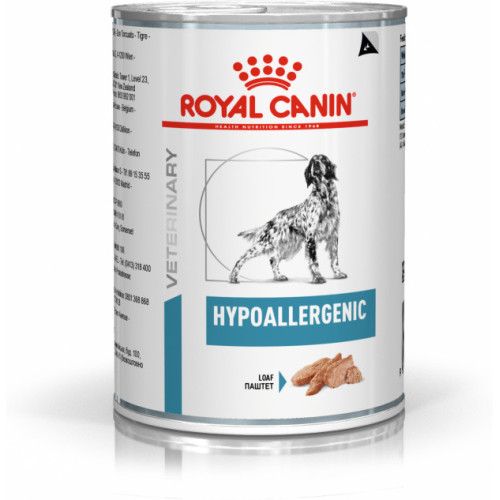 Royal Canin Veterinary Hypoallergenic in Loaf Dog Food Cans 400g x 24