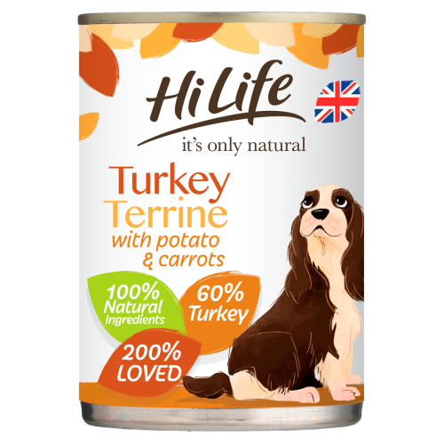 HiLife Its Only Natural Turkey Terrine Wet Adult Dog Food 395g x 24