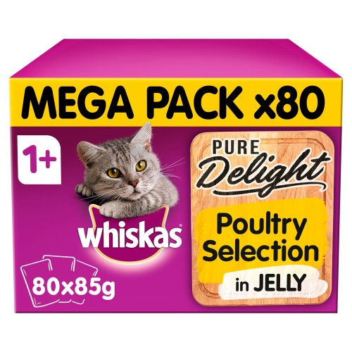 Whiskas 1+ Pure Delight Poultry Selection Wet Adult Cat Food Pouches 85g x 80 SAVER PACK