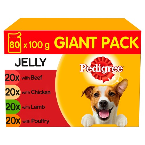 Pedigree Mixed Selection in Jelly Wet Adult 1+ Dog Food Pouches 100g x 80