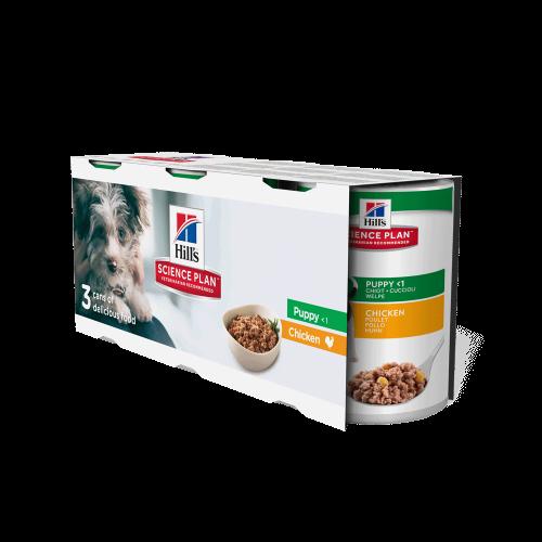 Hills Science Plan Trial Pack Chicken Puppy Wet Dog Food Tins 370g x 3